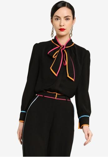 Zalia black Pussybow Shirt With Piping Detail AD357AA46F43EBGS_1
