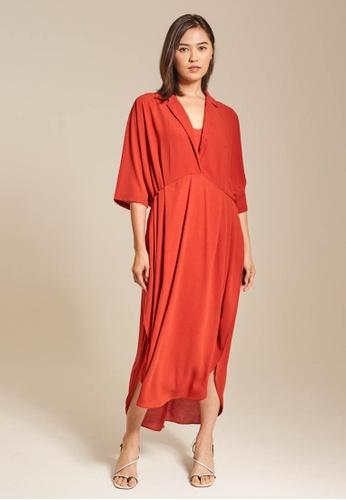 Dressing Paula orange Oversized Chiffon Trapeze Maxi Dress 66855AA36302DCGS_1