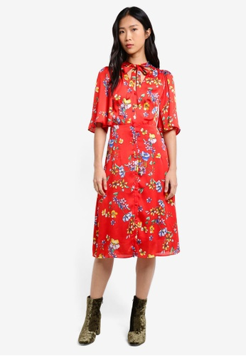 Mango red Bow Floral Dress MA193AA0RXR7MY_1