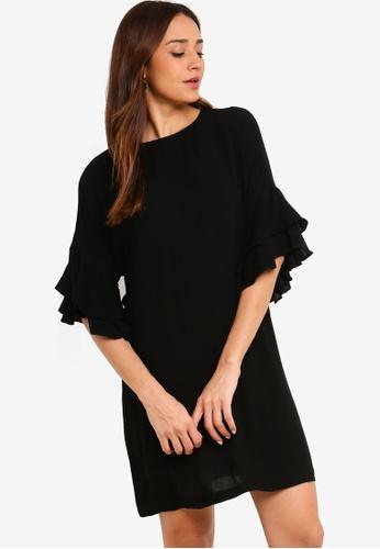 ZALORA black Ruffle Sleeves Dress FEEC2AABA9ED50GS_1