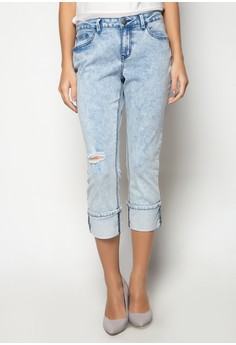 Light Wash Straight Cut Jeans with One Fold Hem