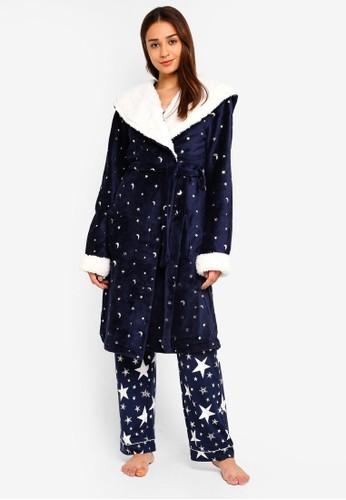 Chelsea Peers navy Navy Dressing Robe With Silver Foil Star & Moon C4316AAD408EDCGS_1