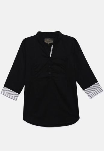 ZALZA black 100% Organic Cotton Lio Girls Fashion Top - Black AFC70KA52636E5GS_1