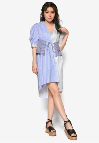 韓系時尚雙色拼接襯衫連身裙, 服zalora 包包評價飾, 洋裝