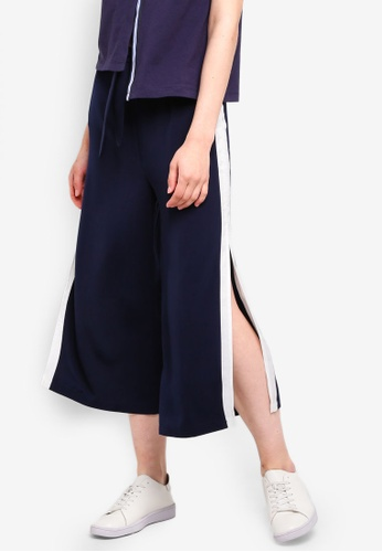 Something Borrowed navy Slit Contrast Culottes 54A31AA2096A11GS_1