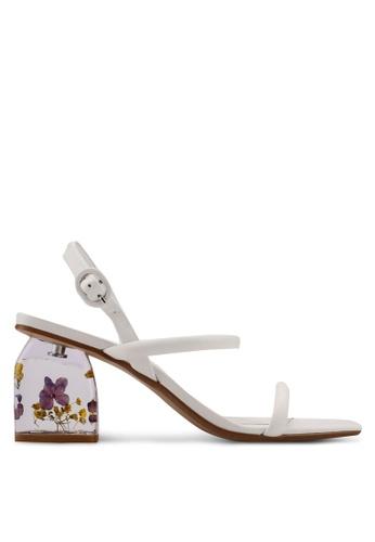 Mango white Flowered Leather Heels 585E8SHF475802GS_1