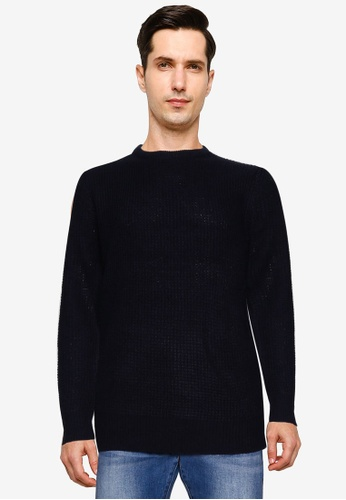 Brave Soul navy Self Fabric Crew Neck Jumper 9FA6DAA996C326GS_1