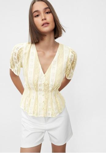 Pomelo beige Floral Lace Peplum Blouse - Cream A168CAA0812661GS_1