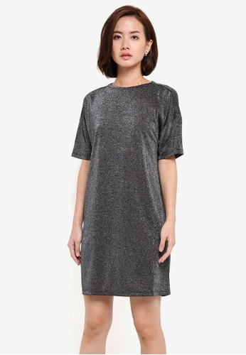ZALORA black Metallic T-shirt Dress 00075ZZA9550E1GS_1