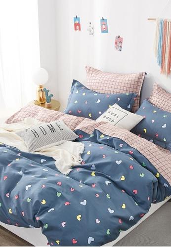 Epitex pink and blue Epitex CK2031-1 900TC Cotton Bedsheet / Bedset (w quilt cover). 012A3HLA7379A1GS_1