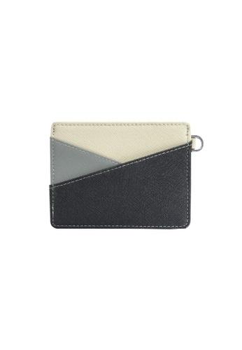 Klosh black and grey Genuine Leather RFID Card Case (Black & Grey) 921C7AC2ADBB76GS_1