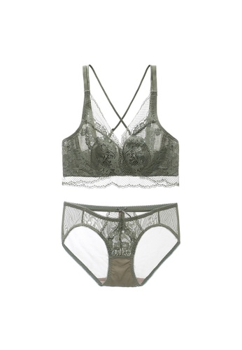 Midnight 綠色 Premium Lace Green Lingerie Set (Bra and Underwear) 6DC54USBB86511GS_1