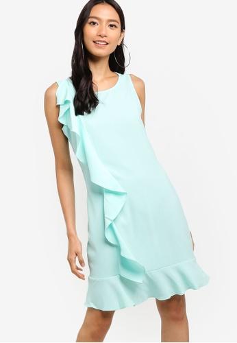 ZALORA green Ruffles Drop Hem Dress 9BF50AA744D497GS_1