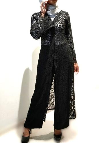 Loveaisyah black Abaya Lace Pullover & Black Pants Set 67DC6AA2A918BEGS_1