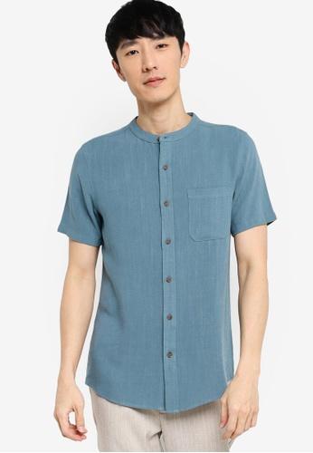 ZALORA BASICS blue Stand Collar Linen Blend Shirt 2D5CAAAD148283GS_1