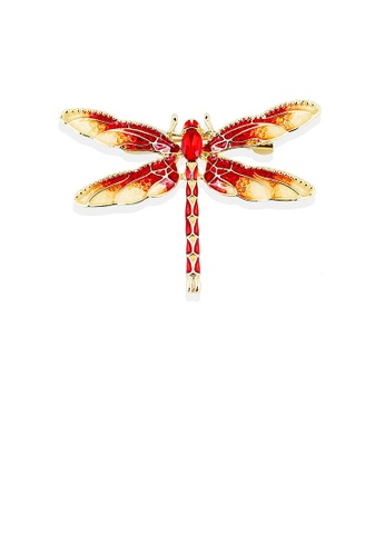 Glamorousky red Fashion and Elegant Plated Gold Red Dragonfly Brooch with Cubic Zirconia A2291ACE3073D4GS_1
