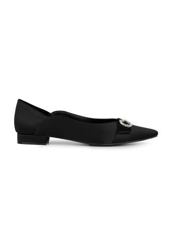 MAUD FRIZON black Satin Pointy Toe Flat With Rhinestone Ornament 16406SHBF553A1GS_1