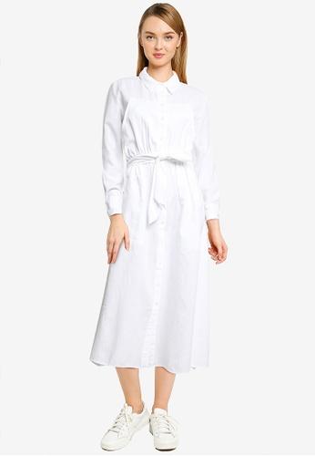 Mango white Belt Shirt Dress 1CB9CAABCE53F1GS_1