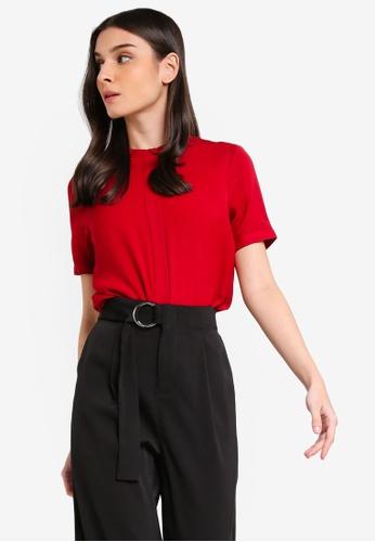 ZALORA 紅色 褶飾上衣 E499AAA6970FE8GS_1