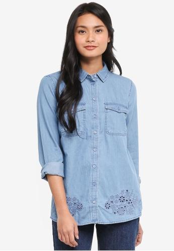 Dorothy Perkins blue Midwash Broderie Hem Shirt 7E311AAD588F6CGS_1