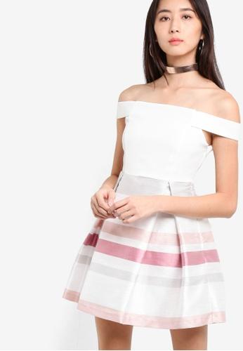 Miss Selfridge white Bardot Prom Dress MI665AA44TRBMY_1