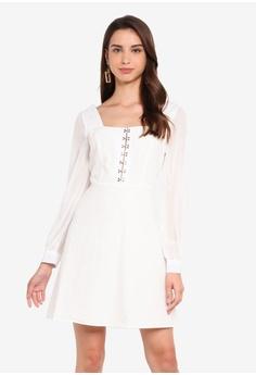 21d6cf159c4 MISSGUIDED white Milkmaid Hook And Eye Organza Dress 130F2AA0B02D71GS_1