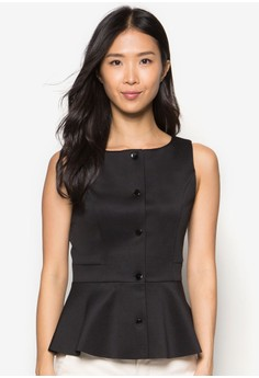 Collection Tailored Button Peplum Top