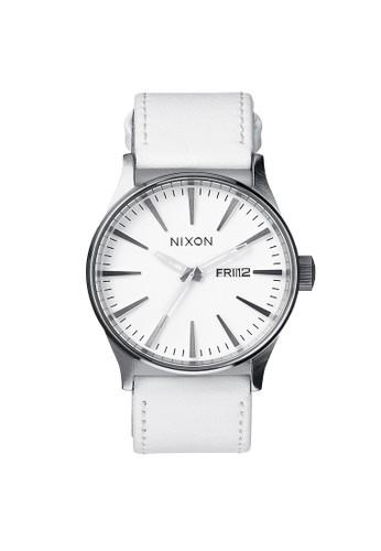 Nixon white SENTRY LEATHER SILVER/WHITE 928D1AC76F62A6GS_1