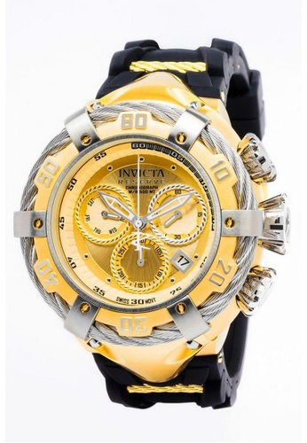 INVICTA gold Invicta Bolt Men 55mm Case Gold, Black Stainless Steel, Silicone Strap Gold Dial Quartz Watch 21366 w/ Cap IN968AC0FLX4SG_1