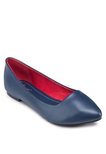 撞色內襯尖頭平底zalora 衣服尺寸鞋, 女鞋, 芭蕾平底鞋