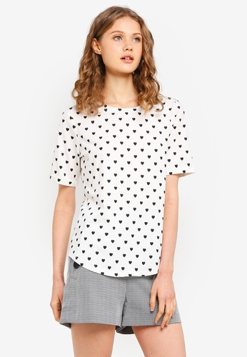 ESPRIT white All Over Heart Short Sleeve T-Shirt 50710AABAB204FGS_1