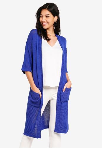 ZALORA blue Longline Textured Cardigan 44C08AA9E9BF3BGS_1