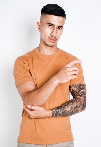 Larusso orange and yellow LARUSSO Tshirt Premium Pocket Tee Coklat Almond 9AEBDAA9EC3C3DGS_1
