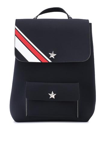 La Fille Des Fleurs black Alma Stripes Backpack 9AAB6AC909F85FGS_1