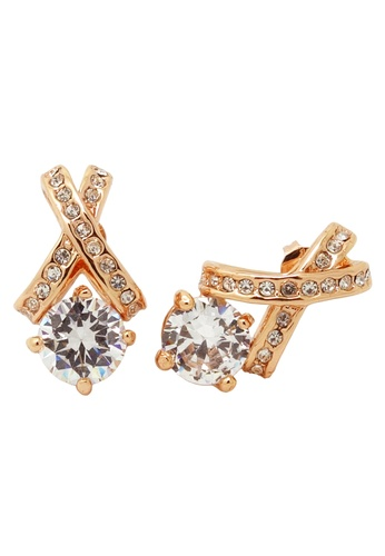 Jaysa Collection gold Rose Gold Ribbon Earrings with Zirconia JA875AC0F9MGSG_1