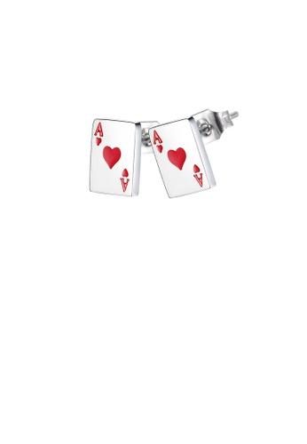 Glamorousky silver Fashion Simple Heart A Poker Card 316L Stainless Steel Stud Earrings 993EAAC224FDB9GS_1