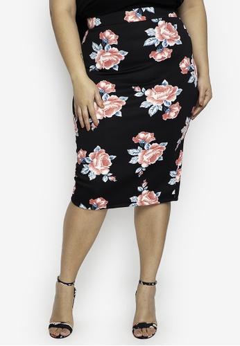 Ashley Collection multi Plus Size Floral Print Zipper Back Midi Skirt ACA4FAA9F7BCA4GS_1