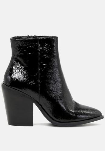 Rag & CO. 黑色 粗跟皱纹里专利短靴 RCSH1769 8420ASH803E9A0GS_1