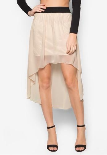 不對稱下擺雪紡短zalora 評價裙, 服飾, 迷你裙