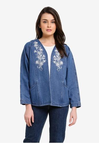 Zalia blue Embroidered Oversized Denim Jacket 3624EZZ2CACE00GS_1