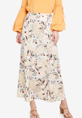Zalia beige Printed Kick Flared Skirt 06B5EAA3D326C0GS_1