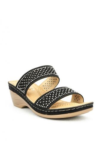 Cardam's Lifestyle black CLS 95847 Black Wedge Sandals BFB81SH4E5423EGS_1