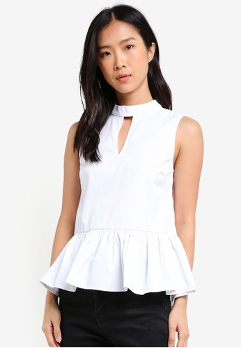 2c5fe0cf5d5c7d ZALORA white High Neck Peplum Top With Key Hole CCB7EAAAE6DED9GS 1