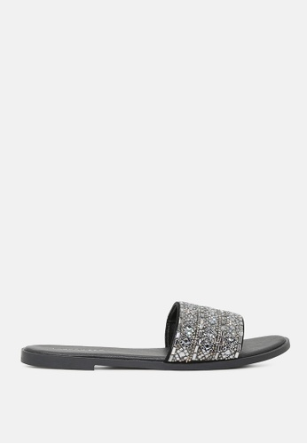 London Rag black Mirror Embellished Flat Sliders D5741SHC1471A8GS_1