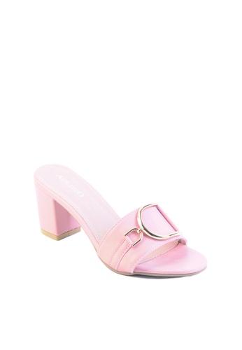 c60b227c3e7d Buy Alfio Raldo Pink Block Heel with Gold Metal Detail Online ...