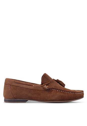 Topman brown Tan Suede Stone Tassel Loafers 693C1SH3A51CEFGS_1