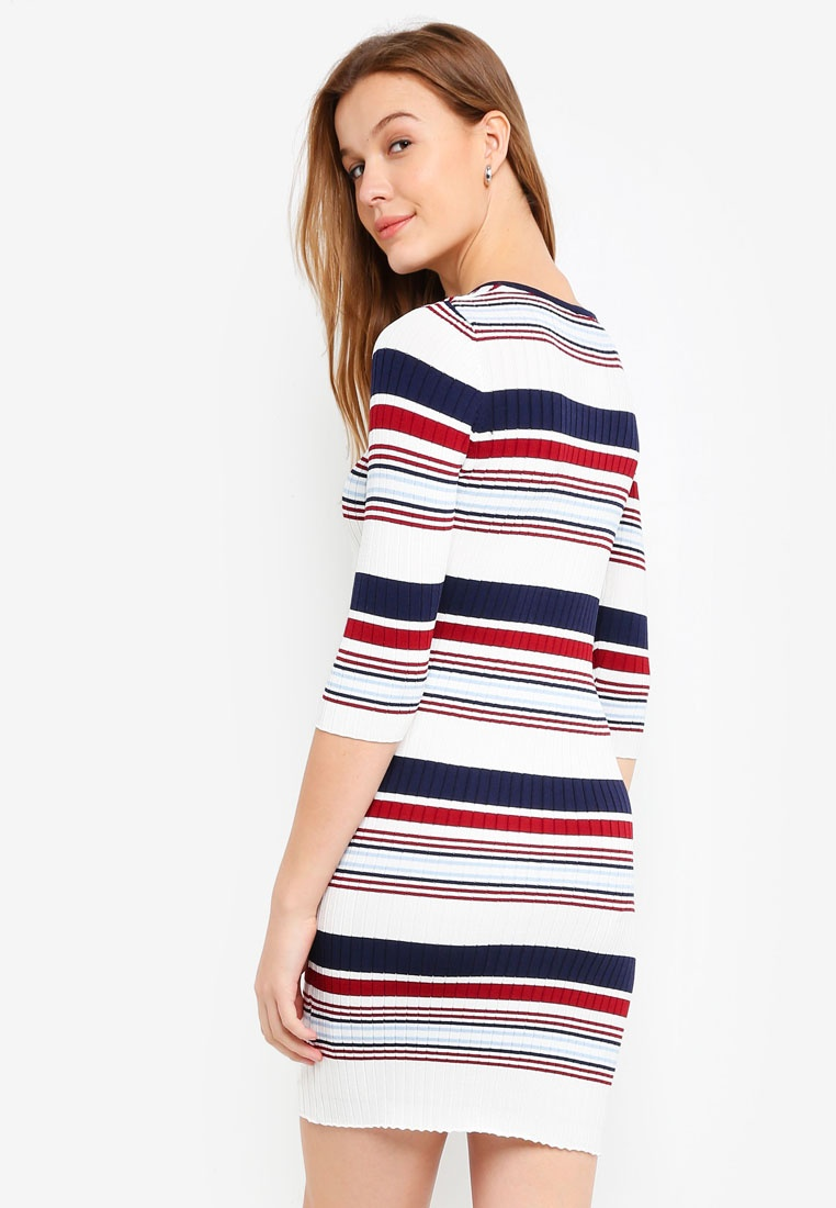 ZALORA Basic Rib Dress BASICS Stripes Mini Multicolour qAAt6U