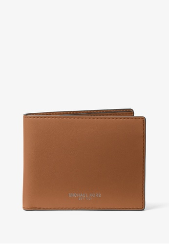 Michael Kors brown Michael Kors Henry Leather Slim Billfold Wallet - Luggage FA86EAC5725174GS_1