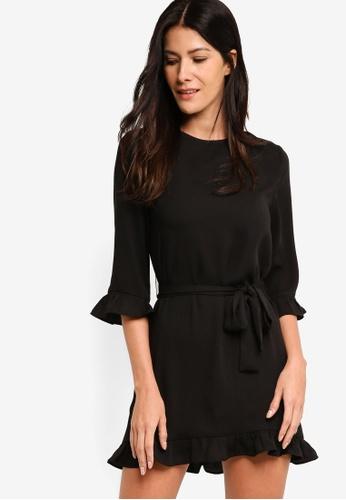 ZALORA black Gathered Hem Shift Dress BBF11AACB54185GS_1