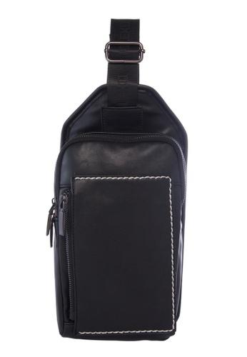 KRIZO black LEXQ Men's Shoulder Sling Chest Pouch Bag 6D61BACAD2BB12GS_1